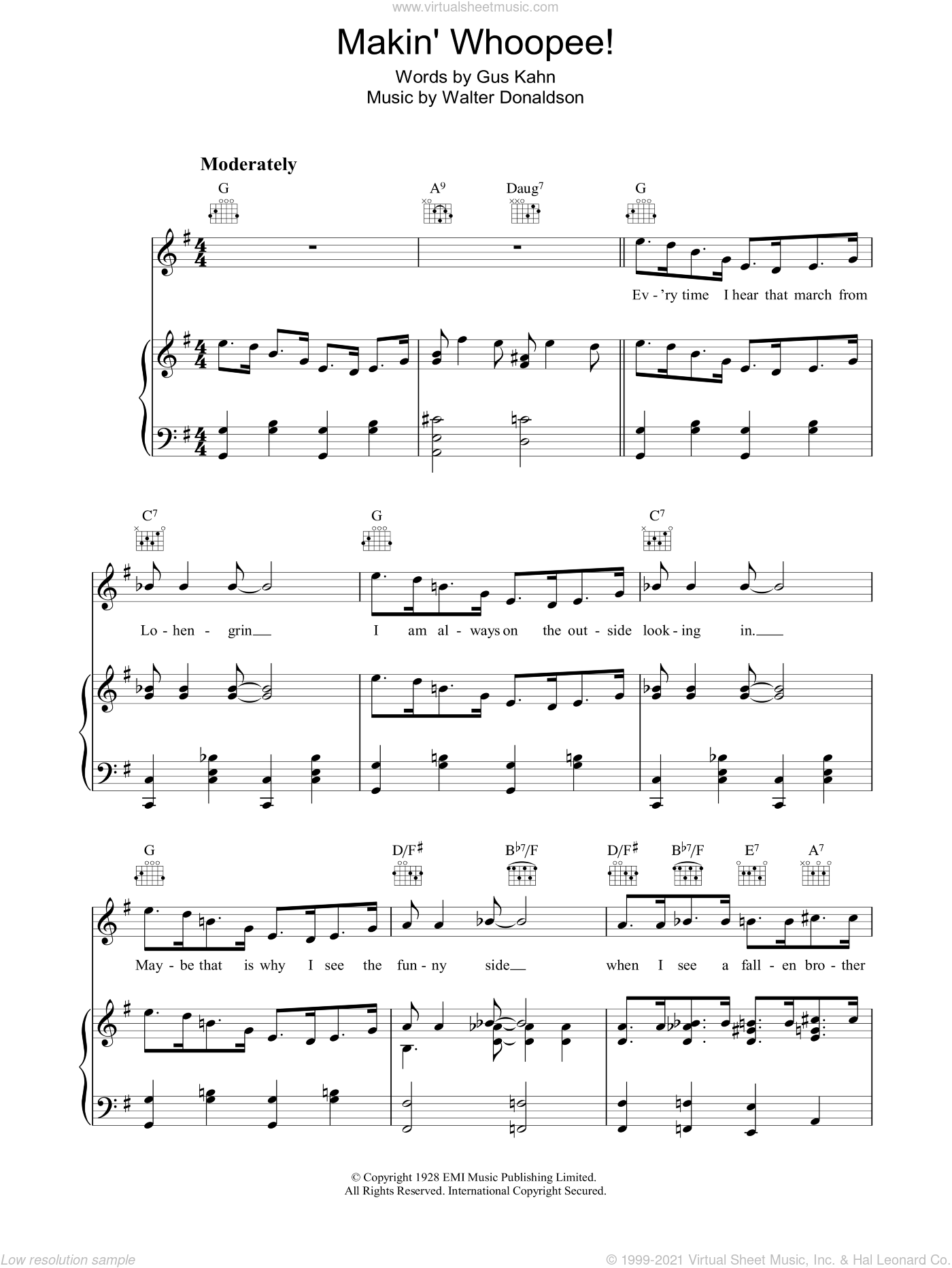 Makin' Whoopee sheet music for voice, piano or guitar by Rosemary Clooney, Eddie Cantor, Gus Kahn and Walter Donaldson, intermediate. Score Image Preview.