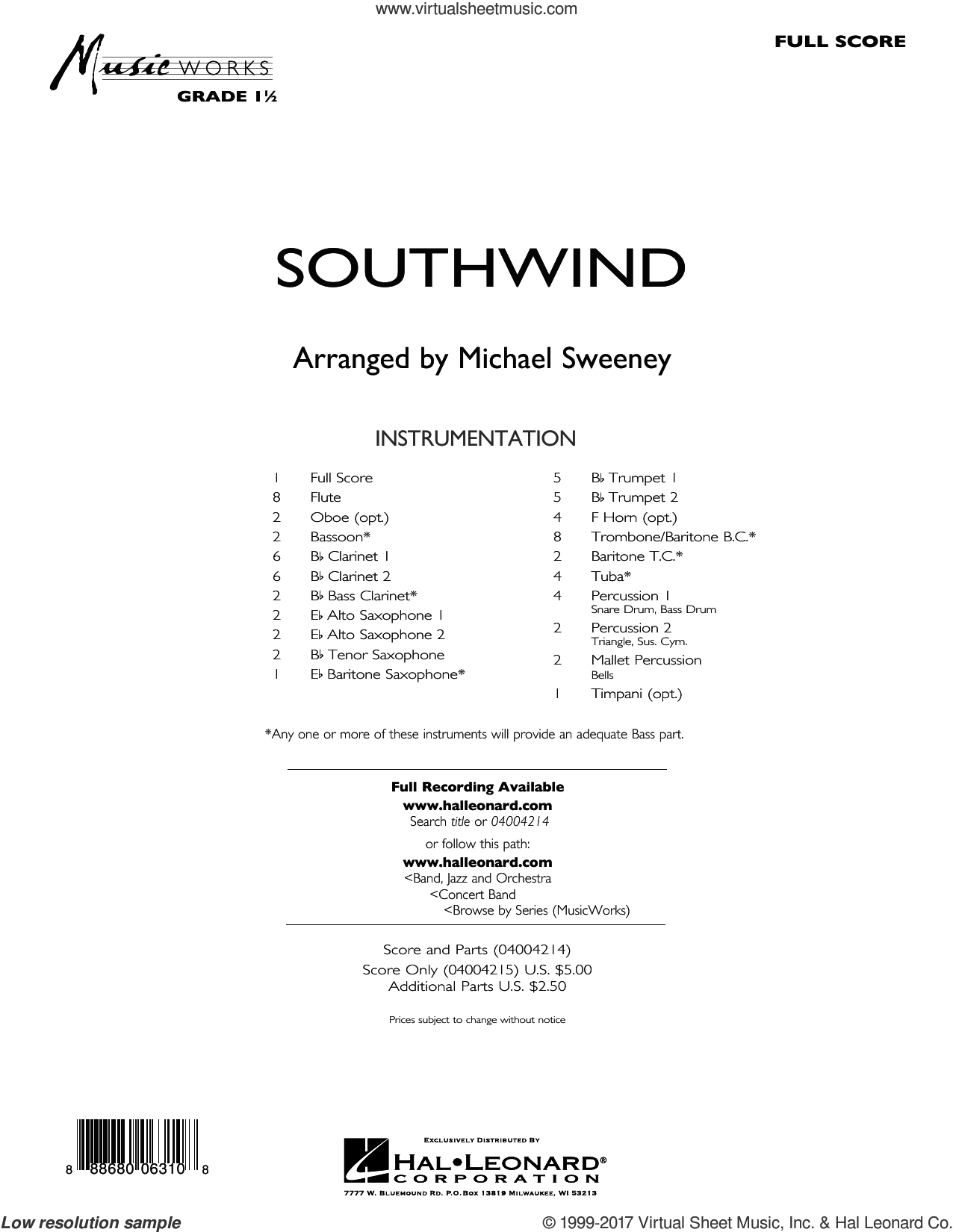 Southwind (COMPLETE) sheet music for concert band by Michael Sweeney, intermediate skill level