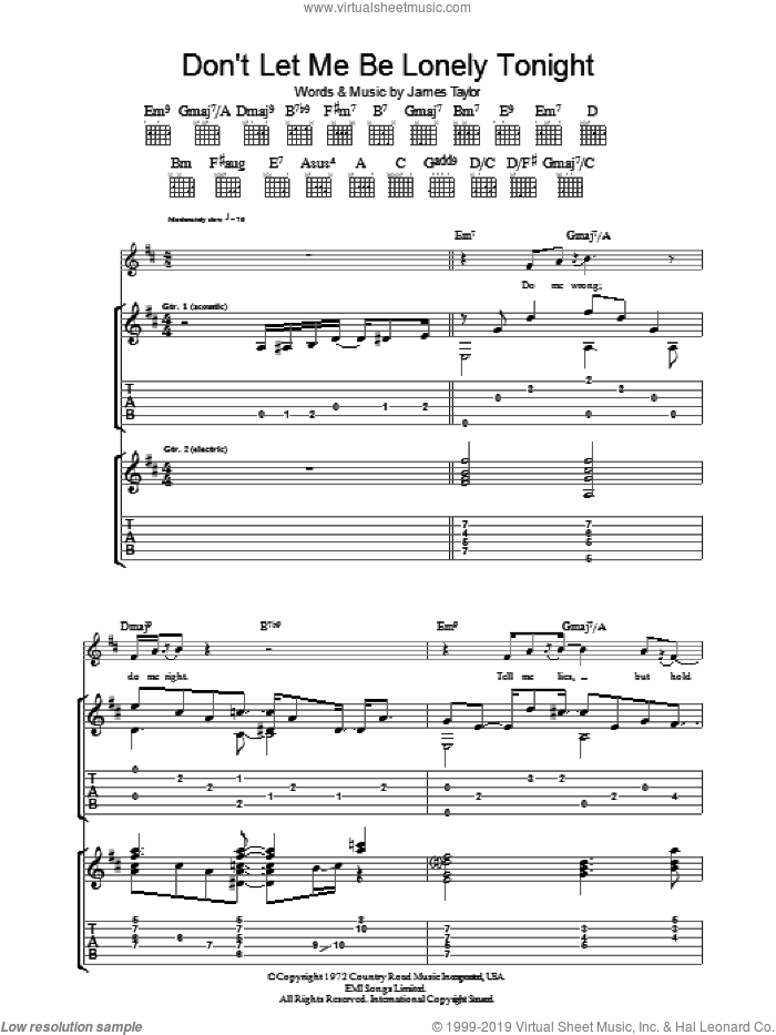 Don't Let Me Be Lonely Tonight sheet music for guitar (tablature) by James Taylor. Score Image Preview.