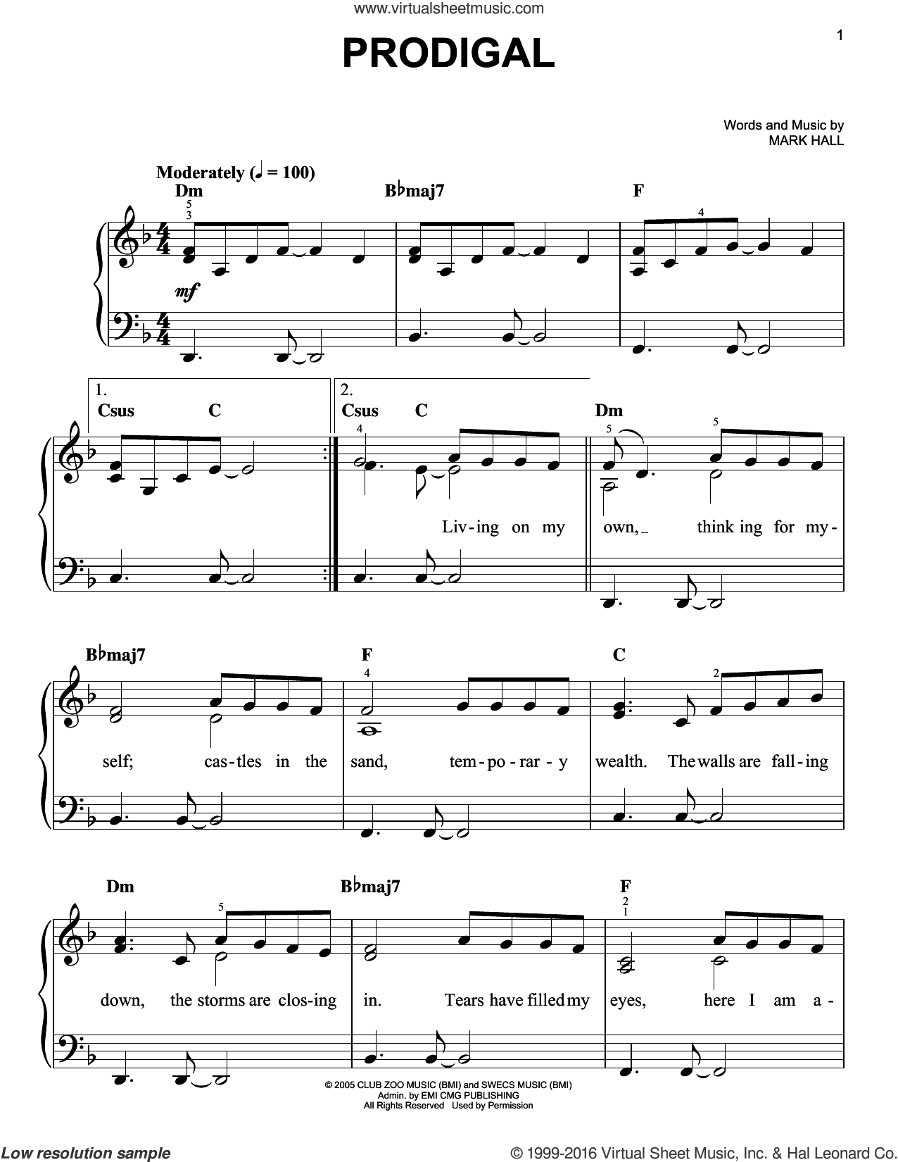 Prodigal sheet music for piano solo by Casting Crowns and Mark Hall, easy skill level