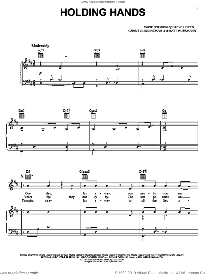 Holding Hands sheet music for voice, piano or guitar by Matt Huesmann, Grant Cunningham and Steve Green. Score Image Preview.
