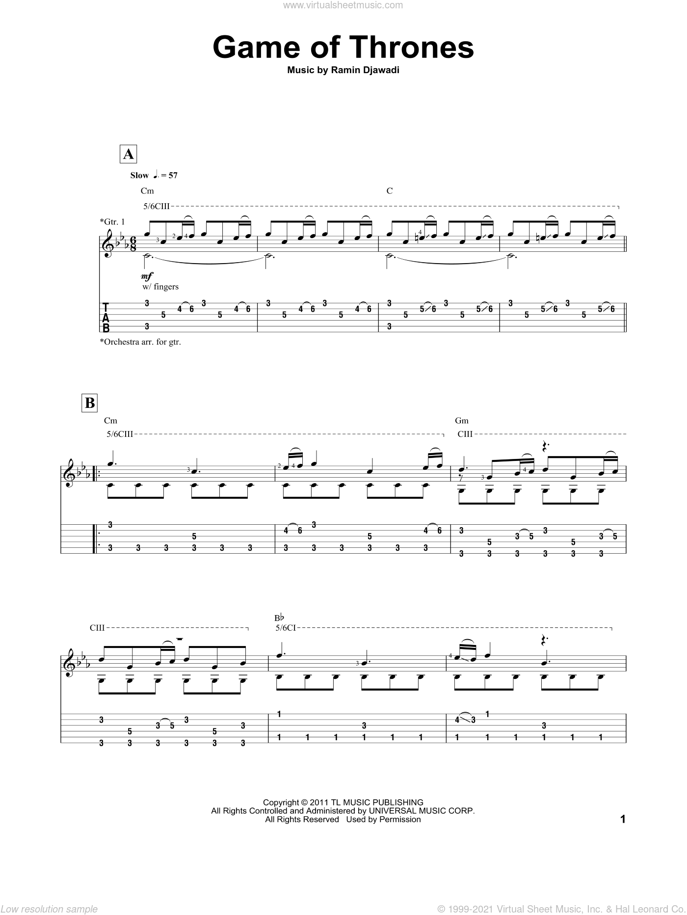 Game Of Thrones sheet music for guitar (tablature) by Ramin Djawadi. Score Image Preview.
