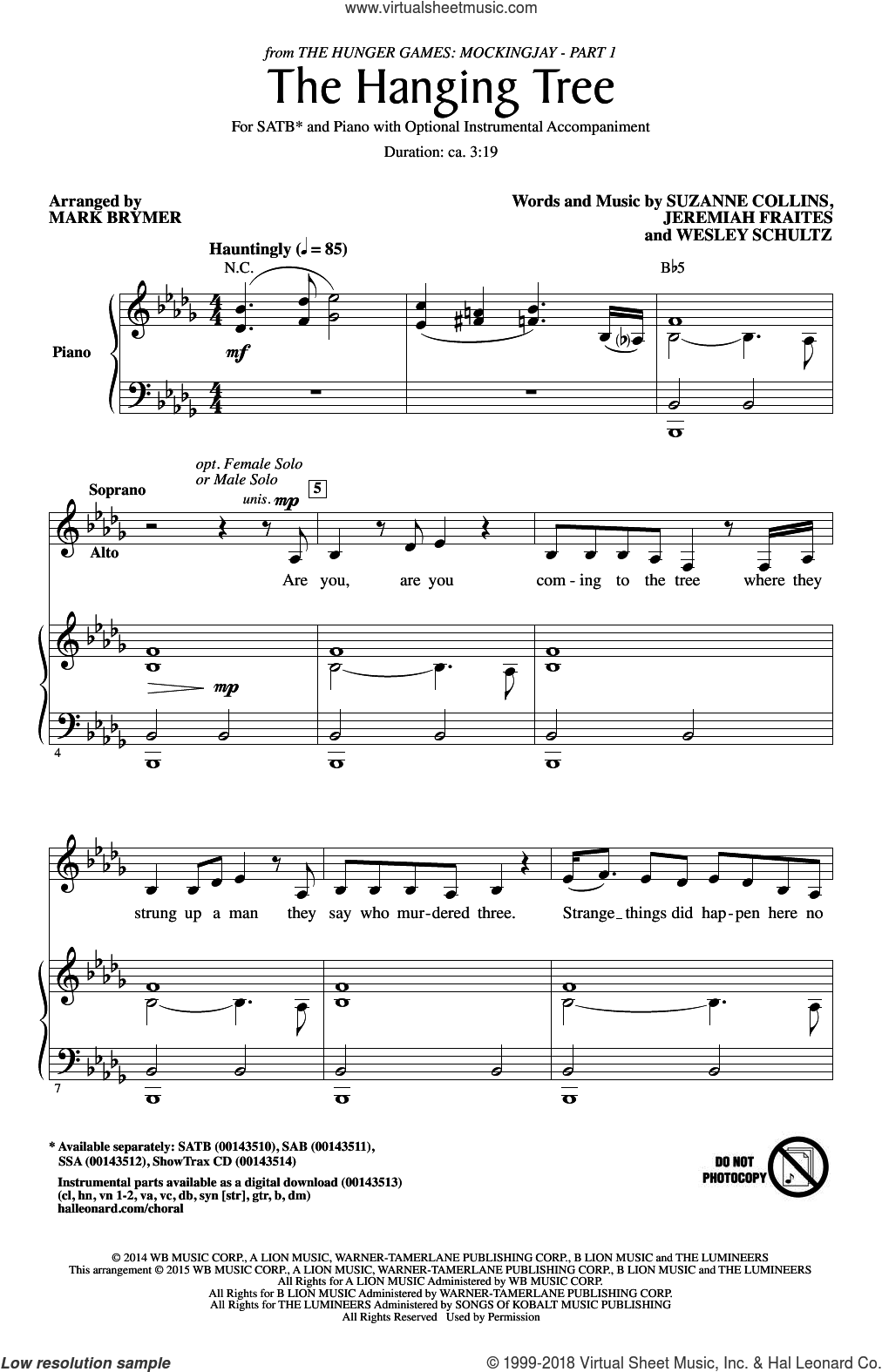 The Hanging Tree sheet music for choir (SATB) by Mark Brymer and James Newton Howard, intermediate choir (SATB). Score Image Preview.