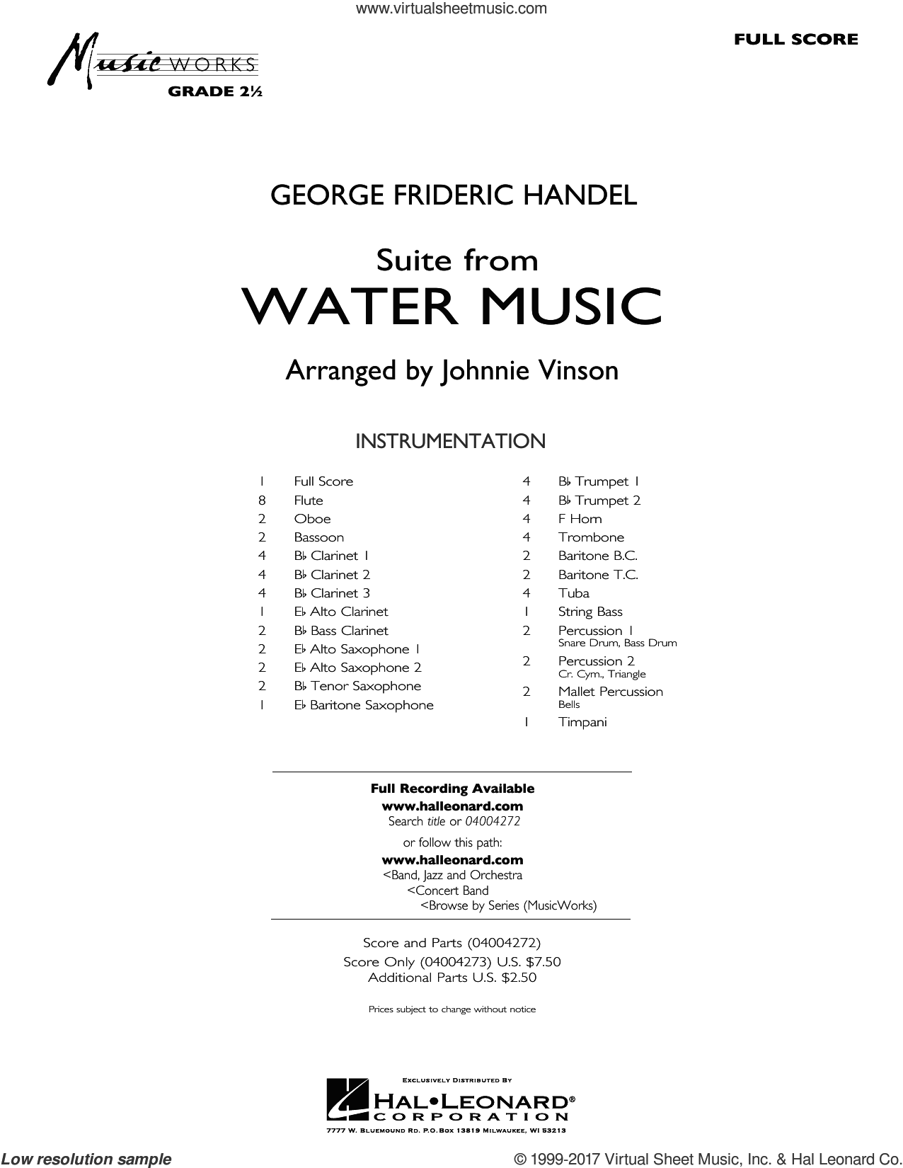 Suite from Water Music (COMPLETE) sheet music for concert band by George Frideric Handel and Johnnie Vinson, intermediate. Score Image Preview.