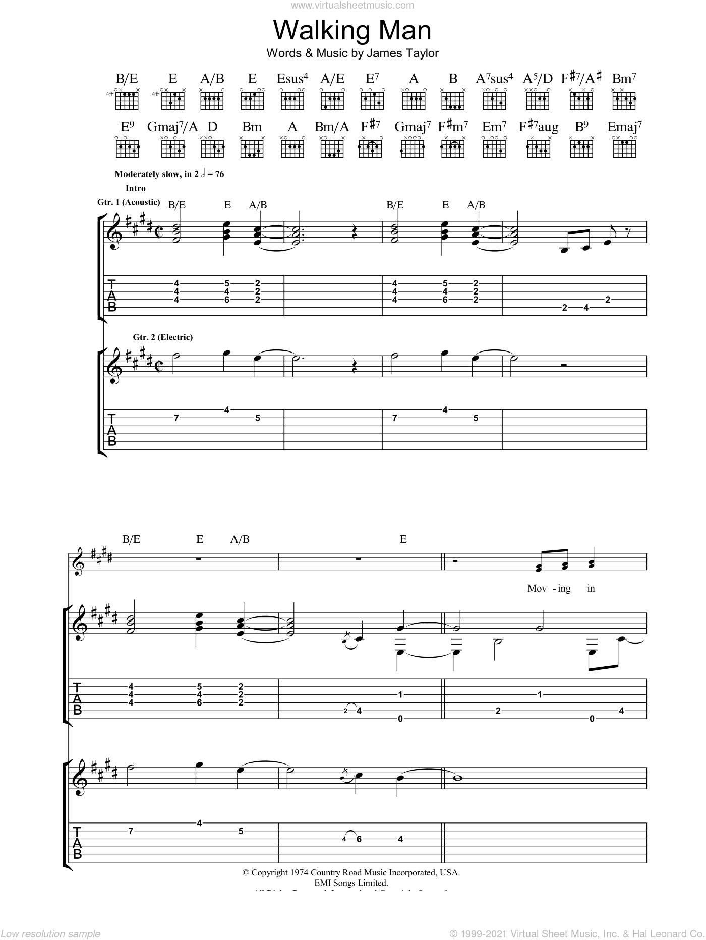 Walking Man sheet music for guitar (tablature) by James Taylor. Score Image Preview.