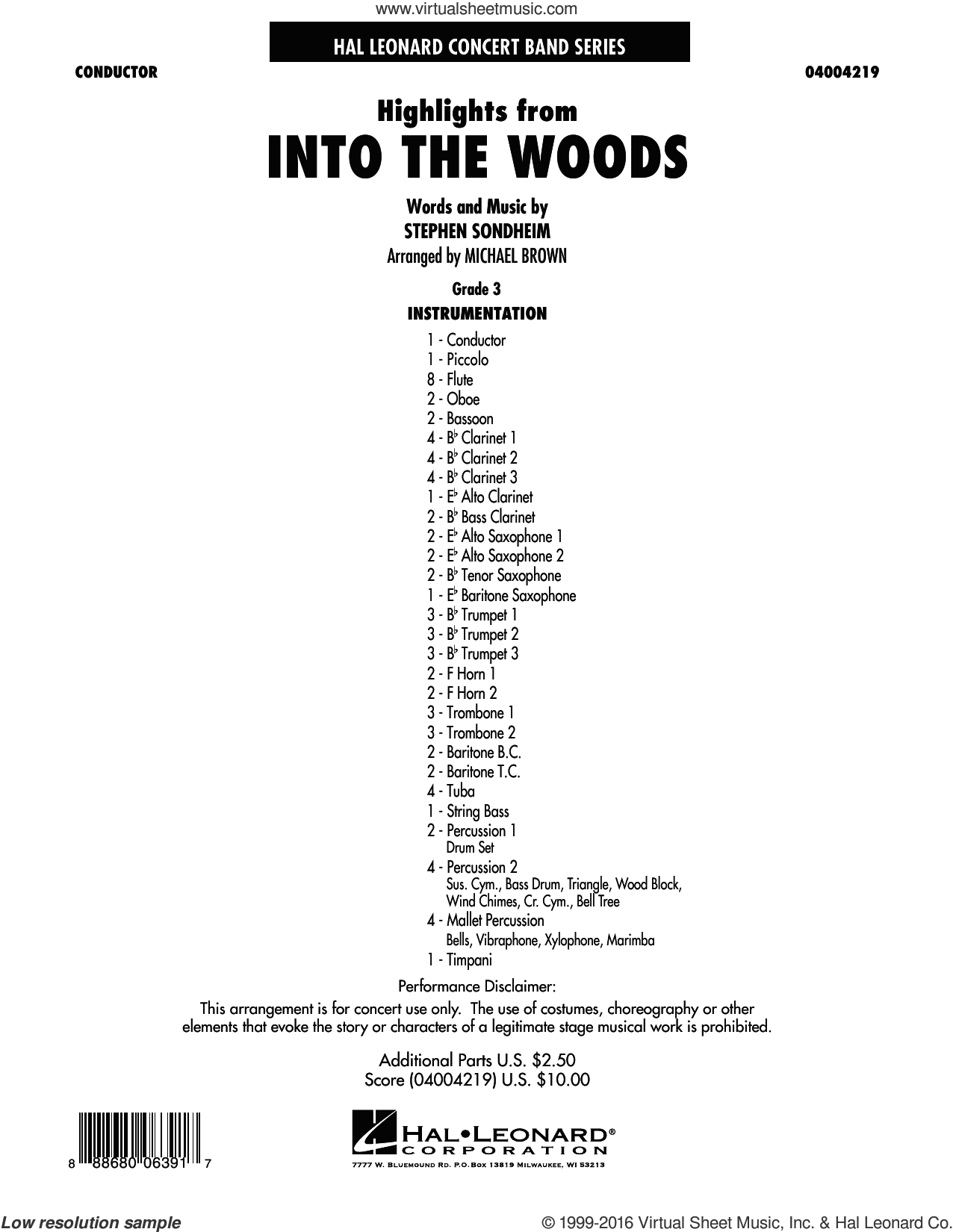 Highlights From Into The Woods sheet music for concert band (full score) by Stephen Sondheim and Michael Brown, intermediate concert band (full score). Score Image Preview.