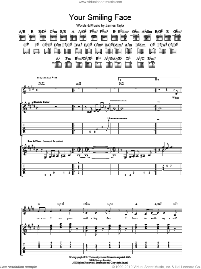 Your Smiling Face sheet music for guitar (tablature) by James Taylor. Score Image Preview.