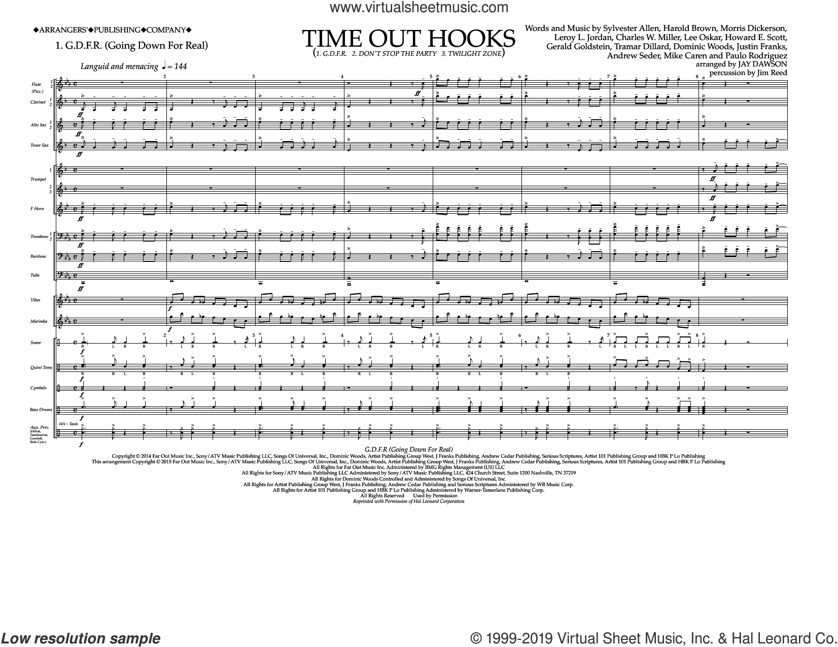 Time Out Hooks (COMPLETE) sheet music for marching band by Jay Dawson, intermediate skill level