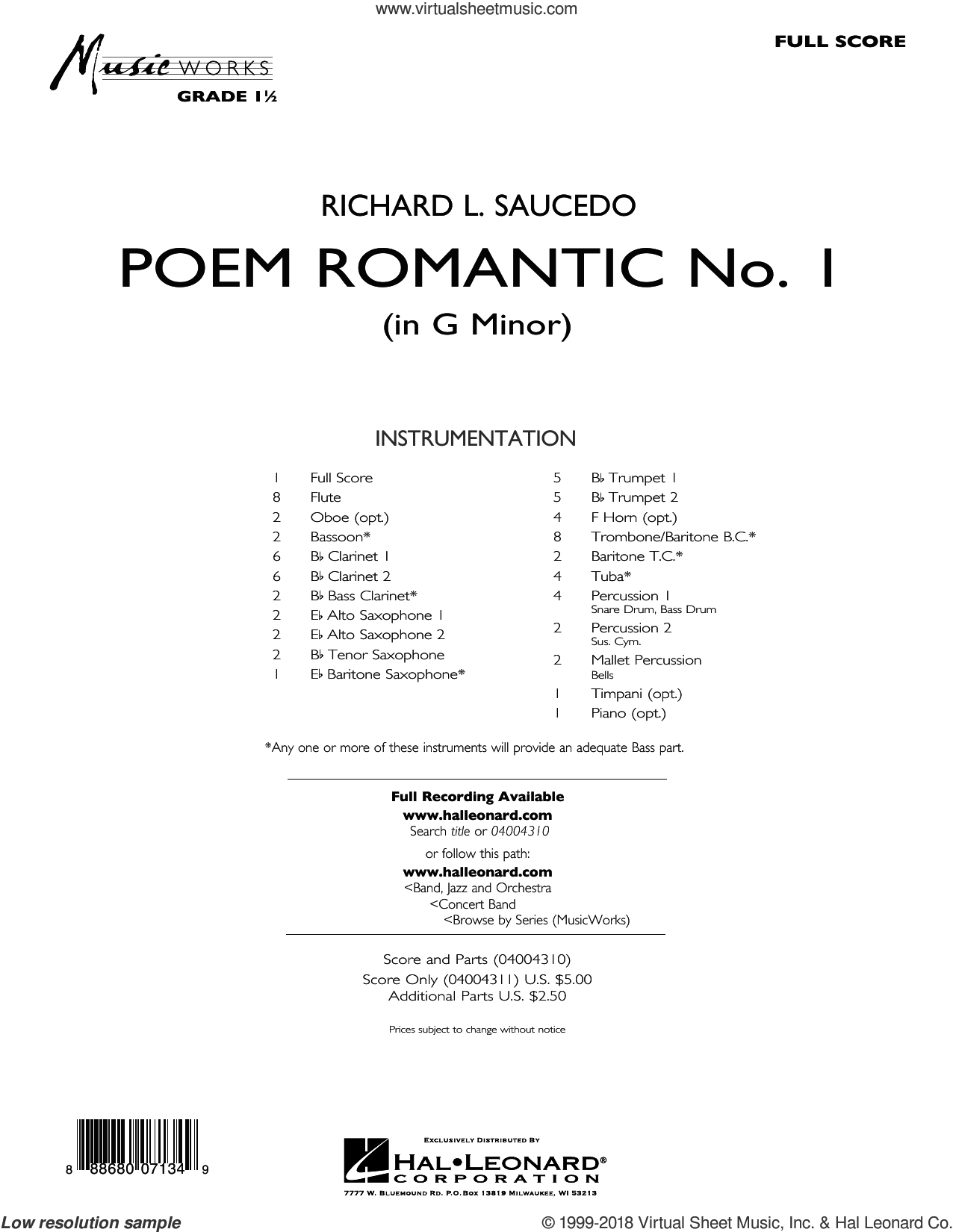 Poem Romantic No. 1 (in G Minor) (COMPLETE) sheet music for concert band by Richard L. Saucedo, intermediate skill level