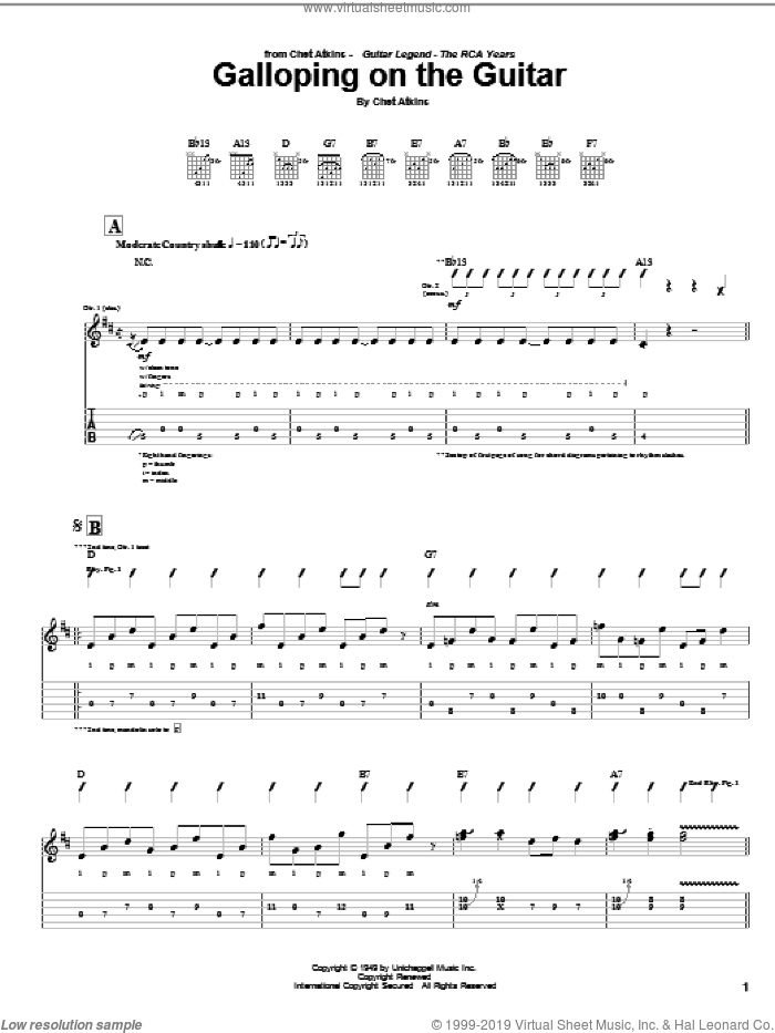 Galloping On The Guitar sheet music for guitar (tablature) by Chet Atkins. Score Image Preview.