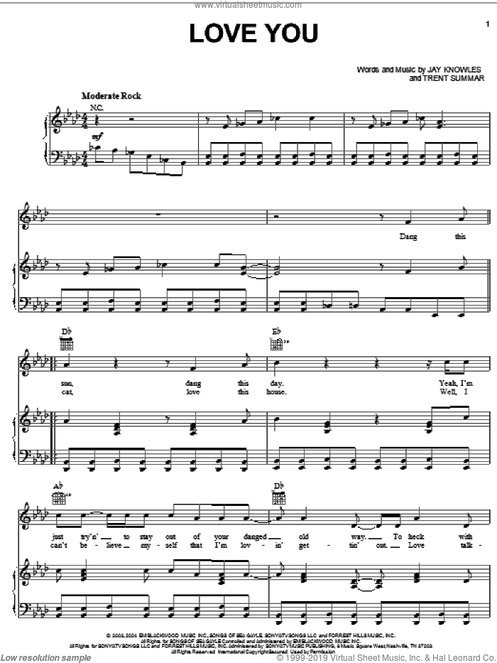Love You sheet music for voice, piano or guitar by Trent Summar, Jack Ingram and Jay Knowles. Score Image Preview.