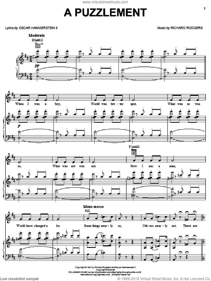 A Puzzlement sheet music for voice, piano or guitar by Richard Rodgers, Rodgers & Hammerstein and Oscar II Hammerstein. Score Image Preview.