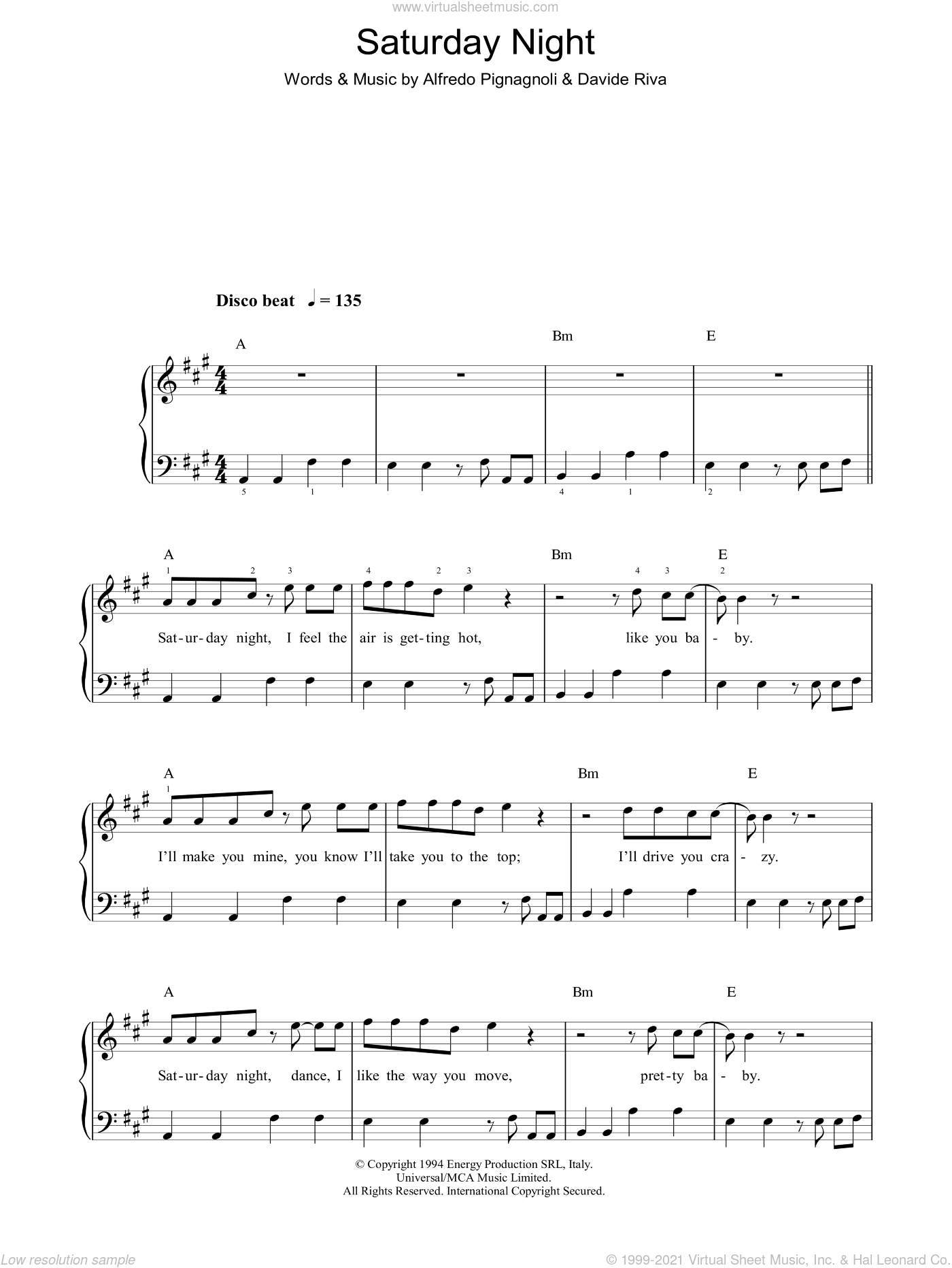Saturday Night sheet music for piano solo by Whigfield and Davide Riva, easy. Score Image Preview.
