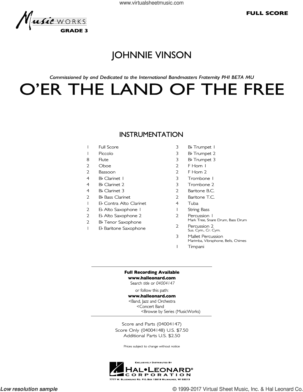 O'er the Land of the Free (COMPLETE) sheet music for concert band by Johnnie Vinson, intermediate. Score Image Preview.