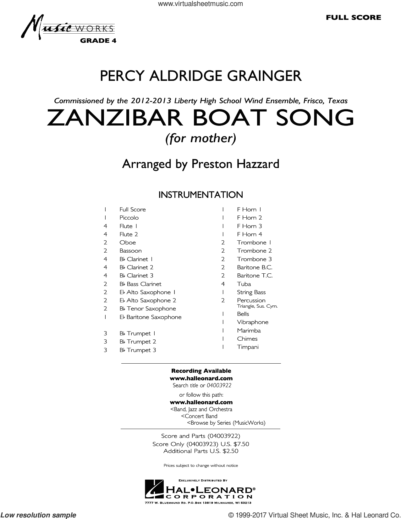 Zanzibar Boat Song (COMPLETE) sheet music for concert band by Preston Hazzard and Percy Aldridge Grainger, classical score, intermediate