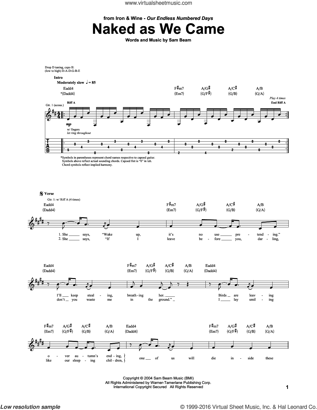 Naked As We Came sheet music for guitar (tablature) by Iron & Wine and Samuel Beam, intermediate skill level