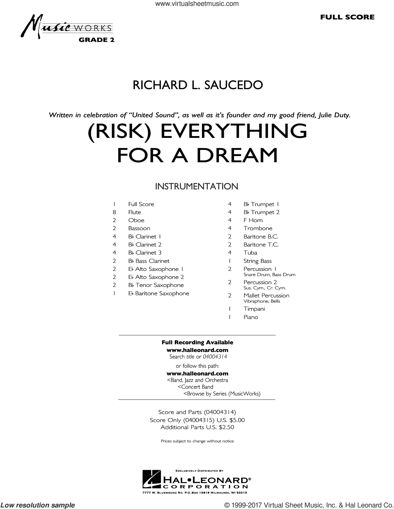 (Risk) Everything for a Dream (COMPLETE) sheet music for concert band by Richard L. Saucedo, intermediate skill level