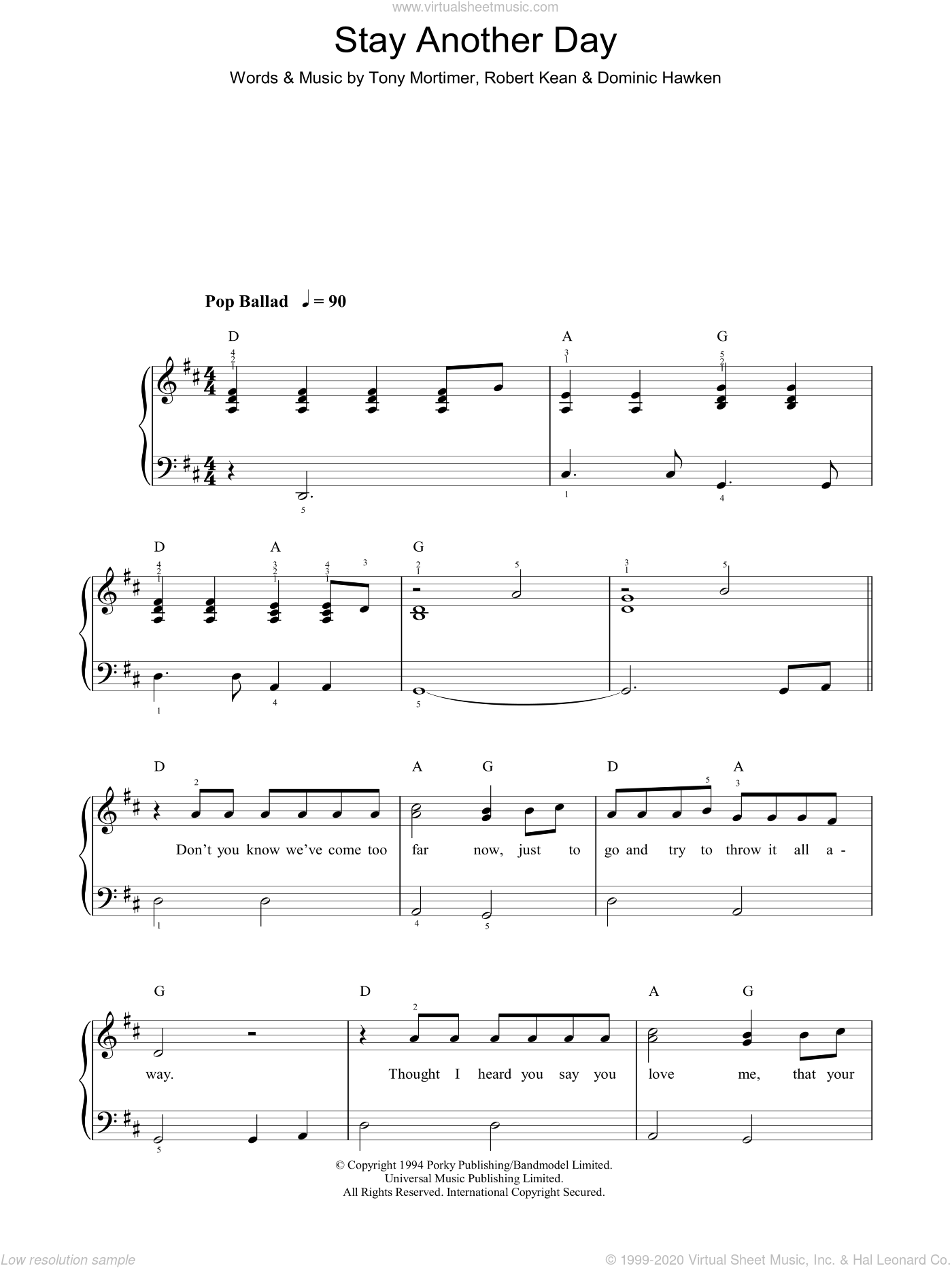 Stay Another Day sheet music for piano solo by Tony Mortimer and East 17. Score Image Preview.