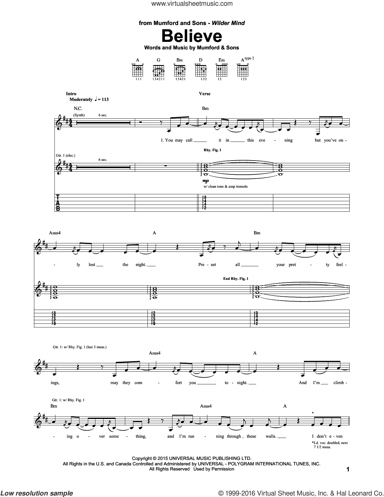 Believe sheet music for guitar (tablature) by Mumford & Sons, intermediate. Score Image Preview.