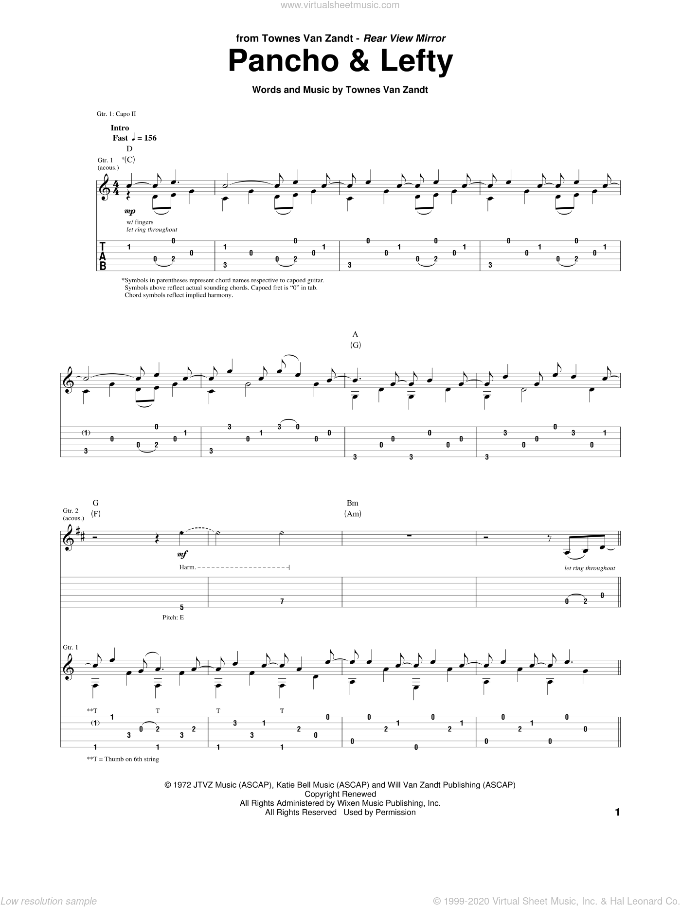 Pancho And Lefty sheet music for guitar (tablature) by Townes Van Zandt and Willie Nelson & Merle Haggard, intermediate skill level