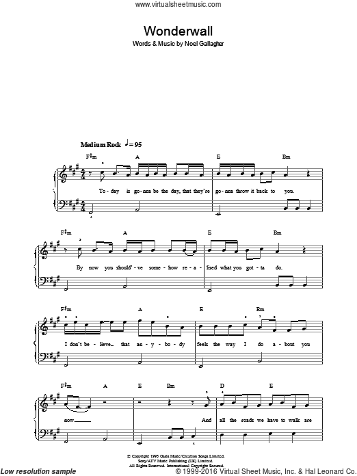 Wonderwall sheet music for piano solo by Oasis and Noel Gallagher, easy piano. Score Image Preview.