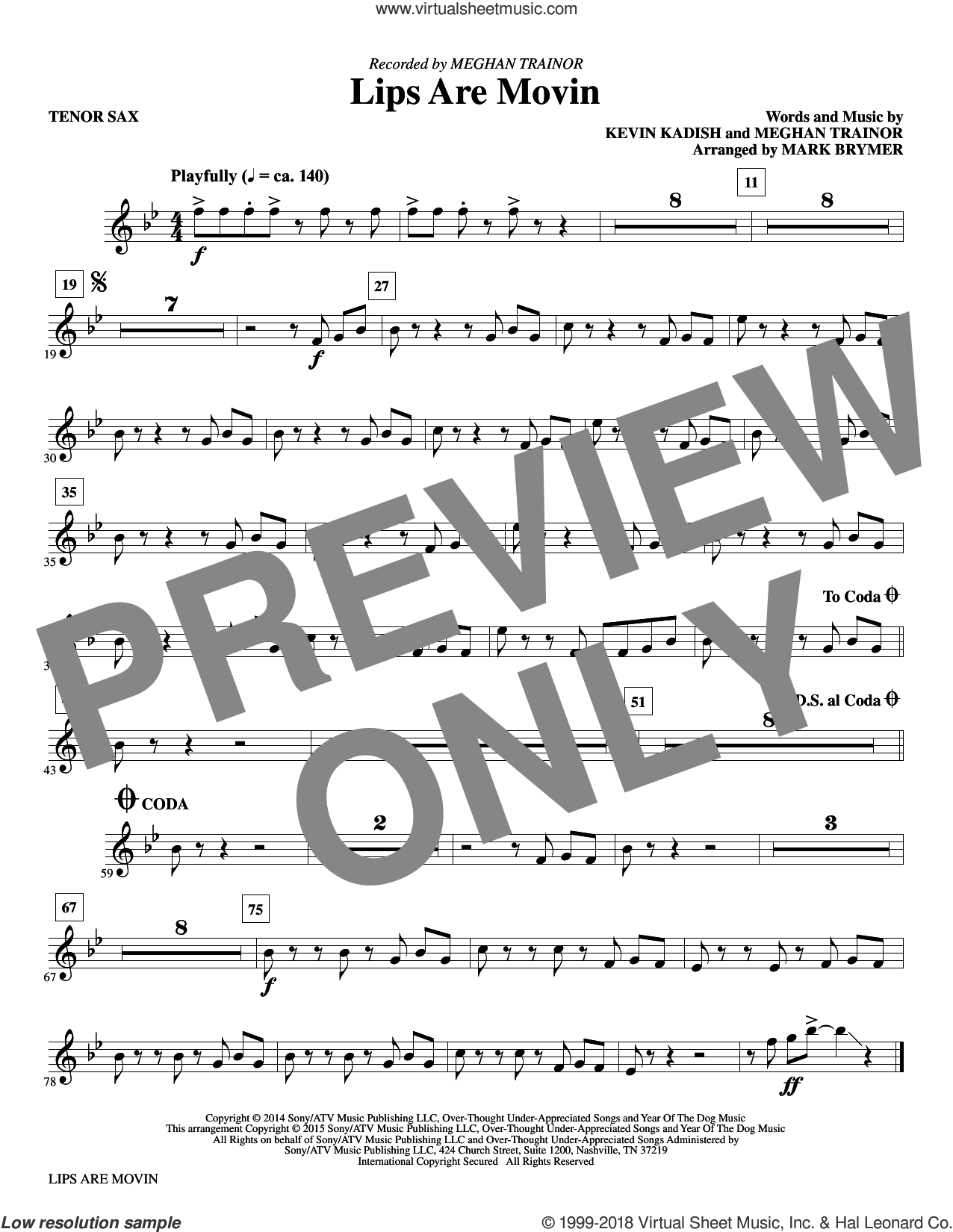 Lips Are Movin (complete set of parts) sheet music for orchestra/band by Mark Brymer, Kevin Kadish and Meghan Trainor, intermediate skill level