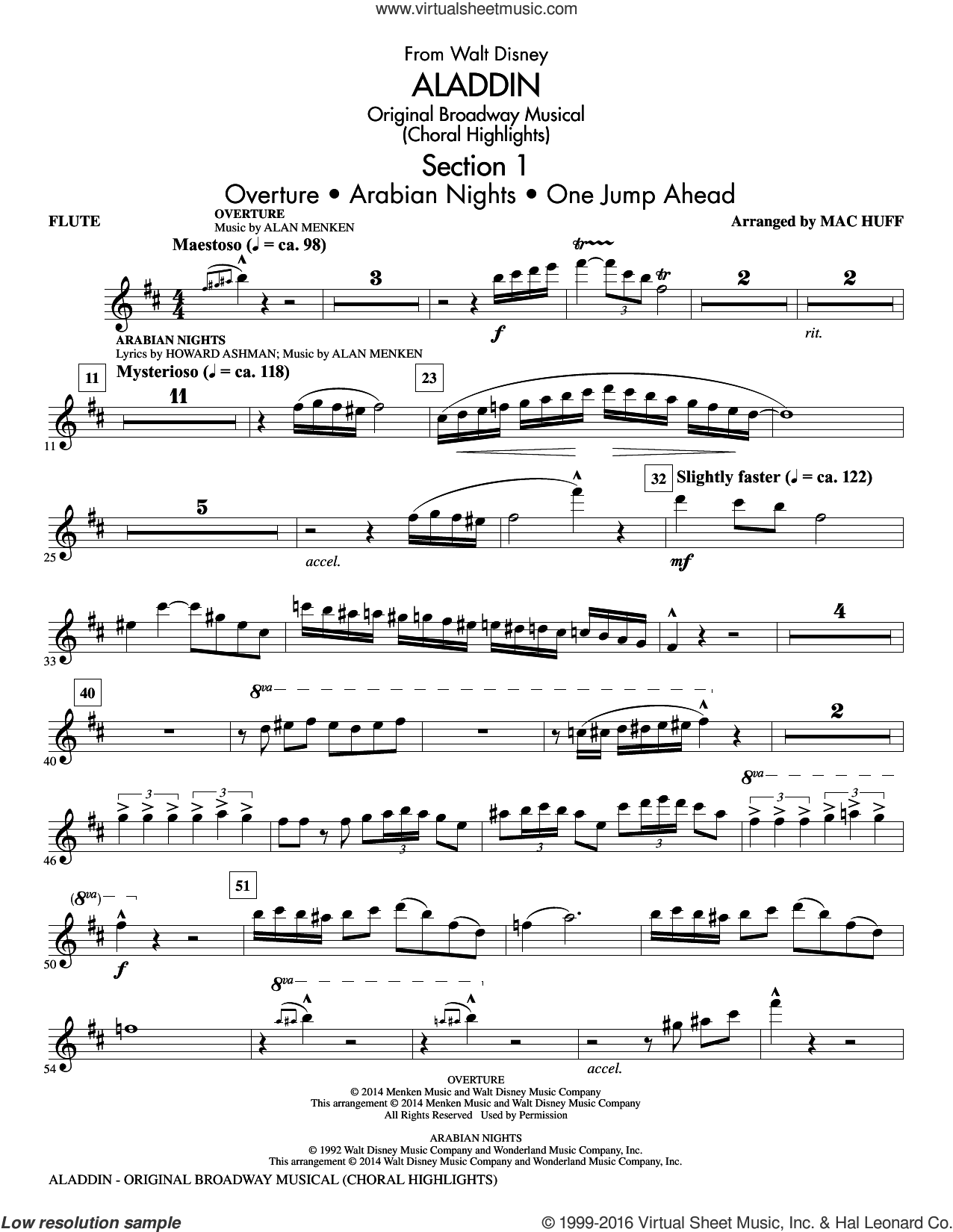 Aladdin, original broadway musical sheet music for orchestra/band (flute) by Mac Huff, Alan Menken and Howard Ashman. Score Image Preview.