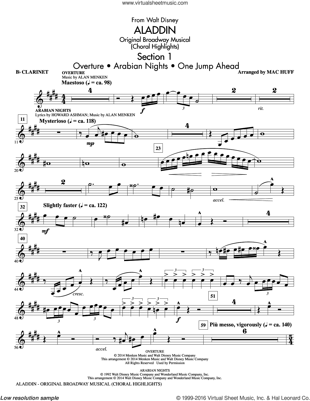 Aladdin, original broadway musical sheet music for orchestra/band (clarinet) by Alan Menken, Howard Ashman and Mac Huff. Score Image Preview.
