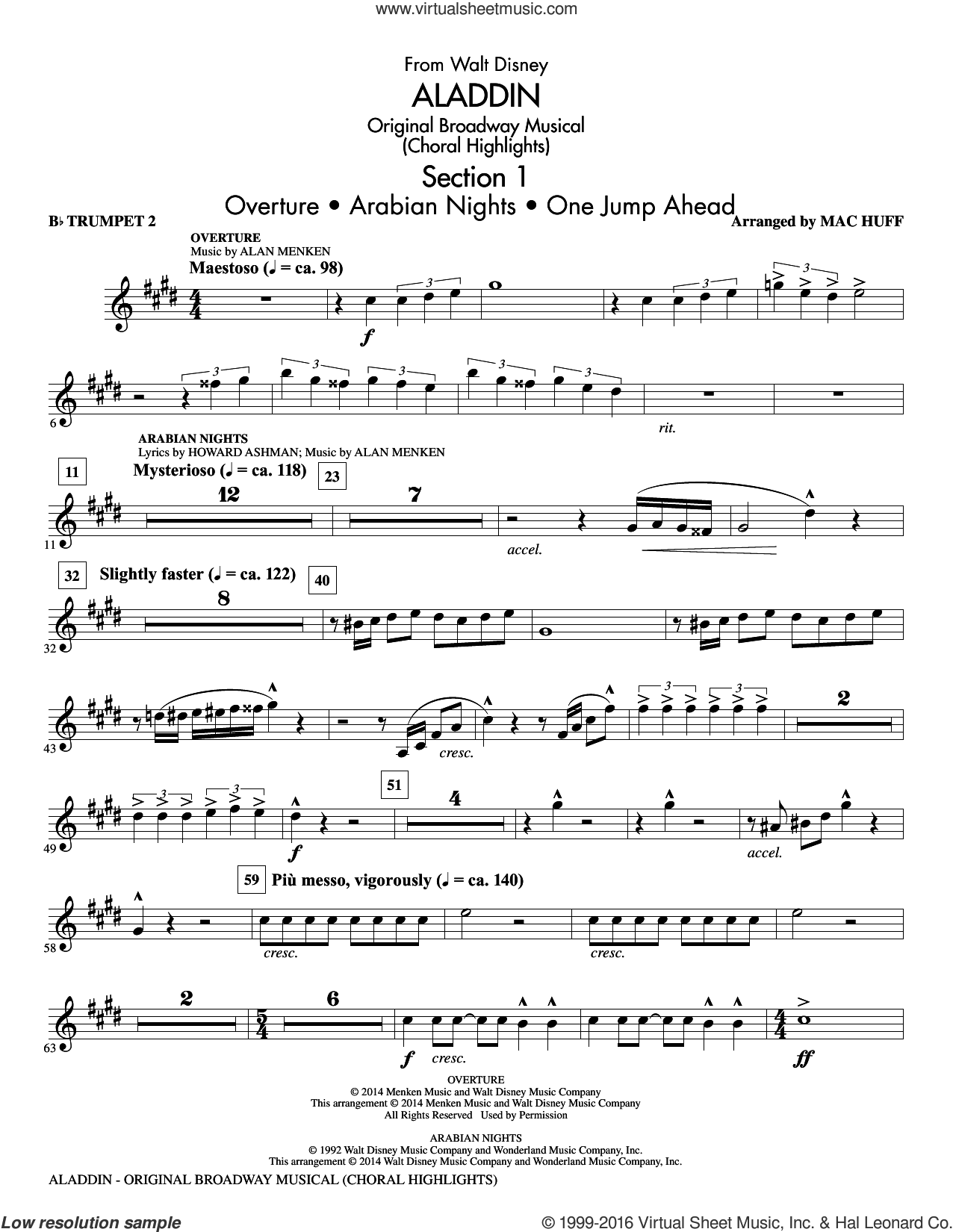 Aladdin, original broadway musical sheet music for orchestra/band (Bb trumpet 2) by Alan Menken, Howard Ashman and Mac Huff. Score Image Preview.