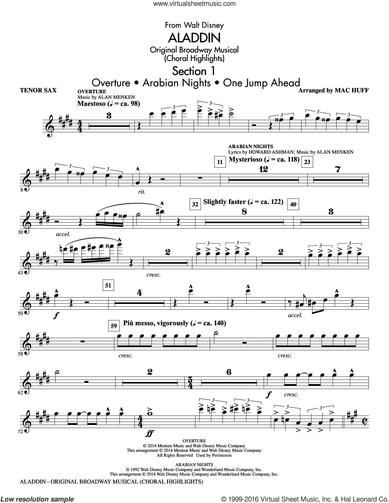 Aladdin, original broadway musical sheet music for orchestra/band (tenor saxophone) by Alan Menken, Howard Ashman and Mac Huff. Score Image Preview.