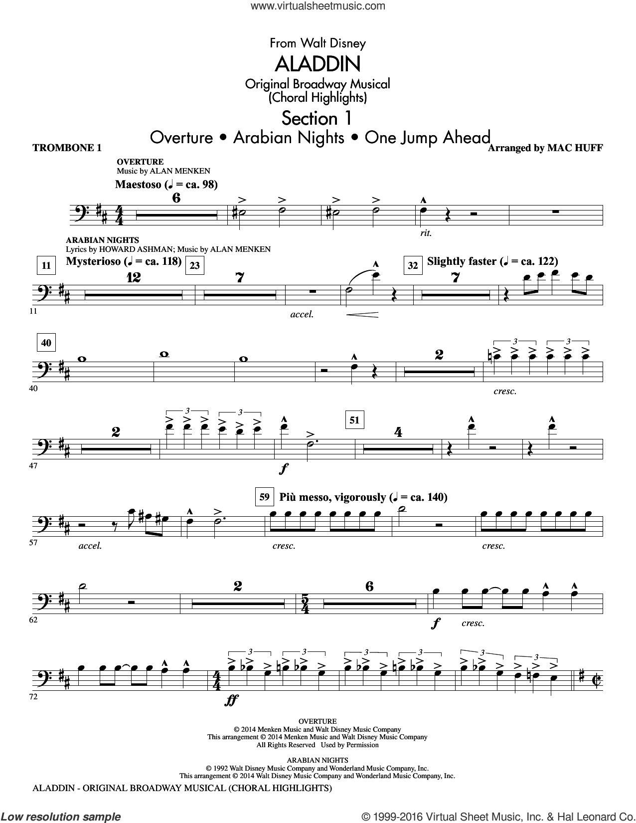 Aladdin, original broadway musical sheet music for orchestra/band (trombone 1) by Alan Menken, Howard Ashman and Mac Huff, intermediate. Score Image Preview.