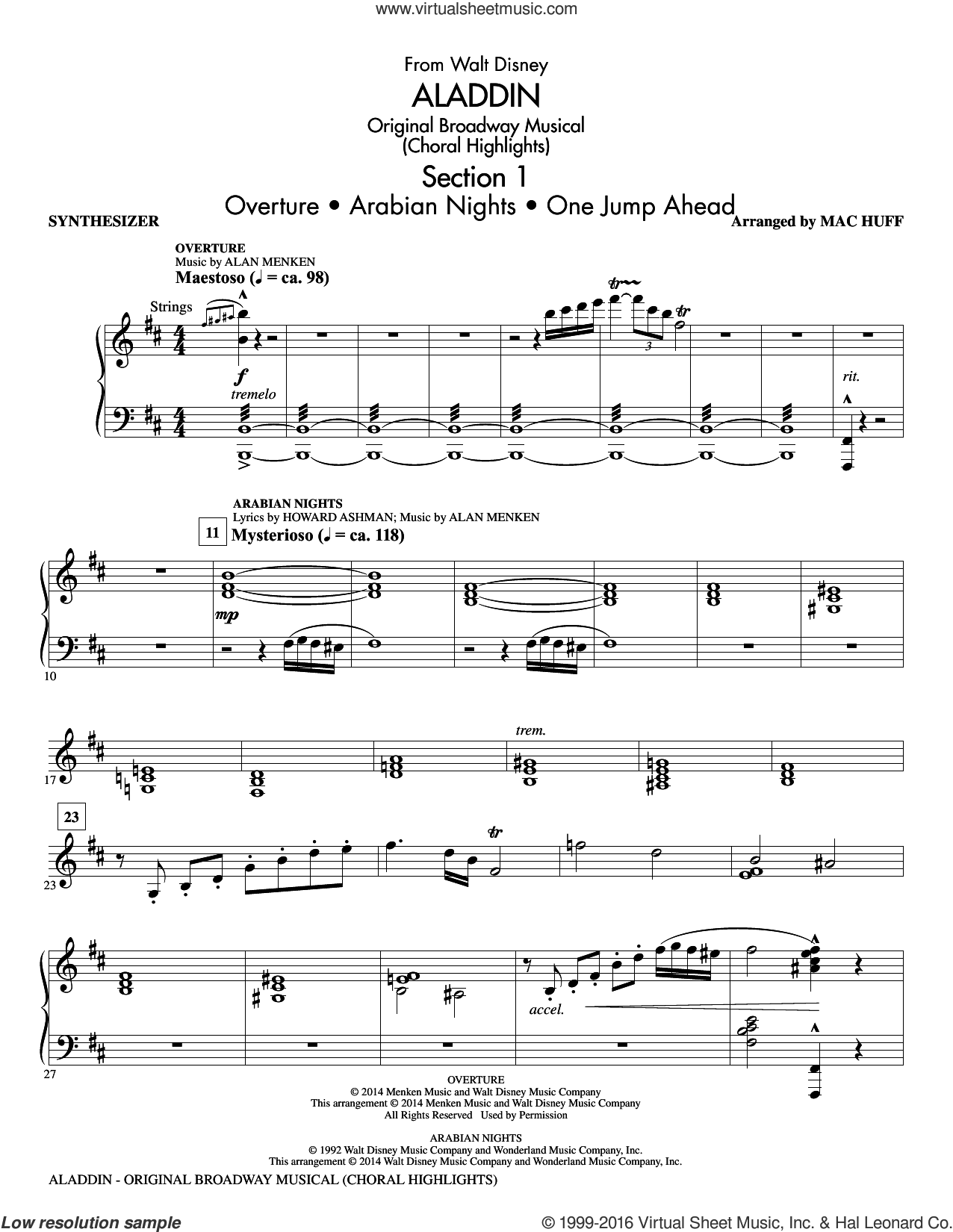 Aladdin, original broadway musical sheet music for orchestra/band (synthesizer) by Alan Menken, Howard Ashman and Mac Huff. Score Image Preview.