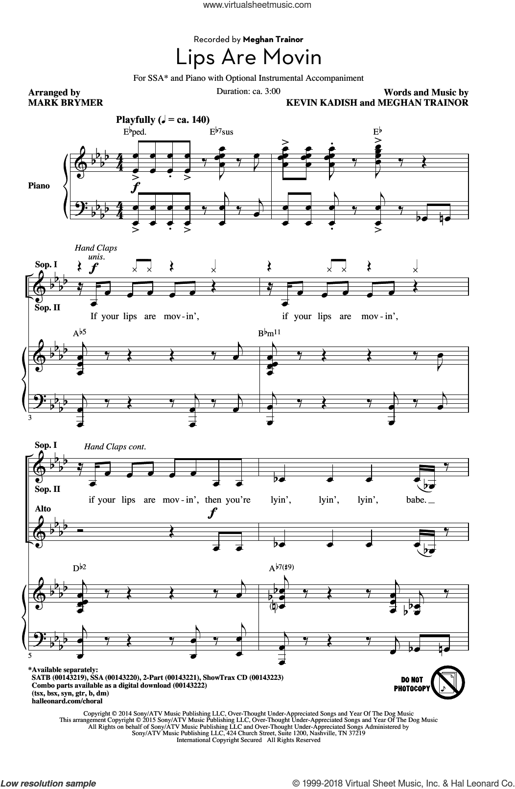 Lips Are Movin sheet music for choir (soprano voice, alto voice, choir) by Kevin Kadish, Mark Brymer and Meghan Trainor. Score Image Preview.