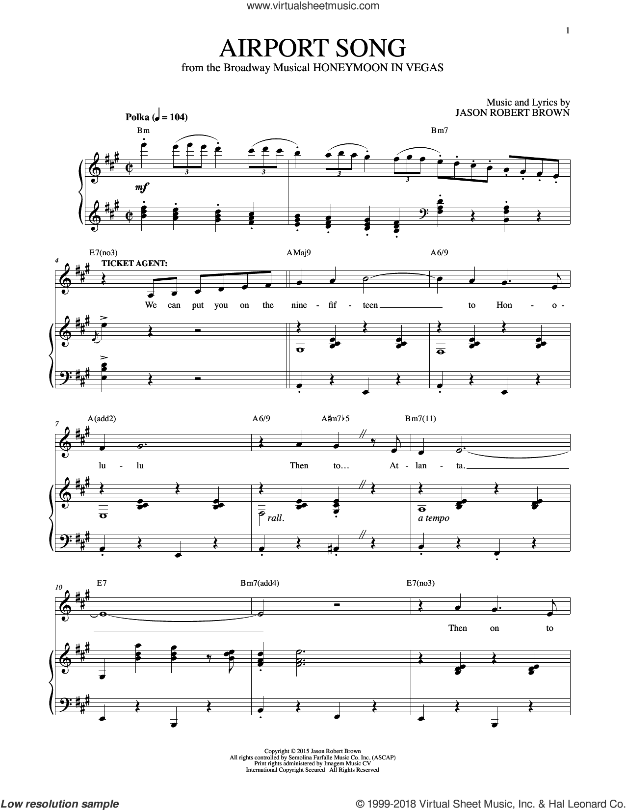Airport Song (from Honeymoon In Vegas) Sheet Music