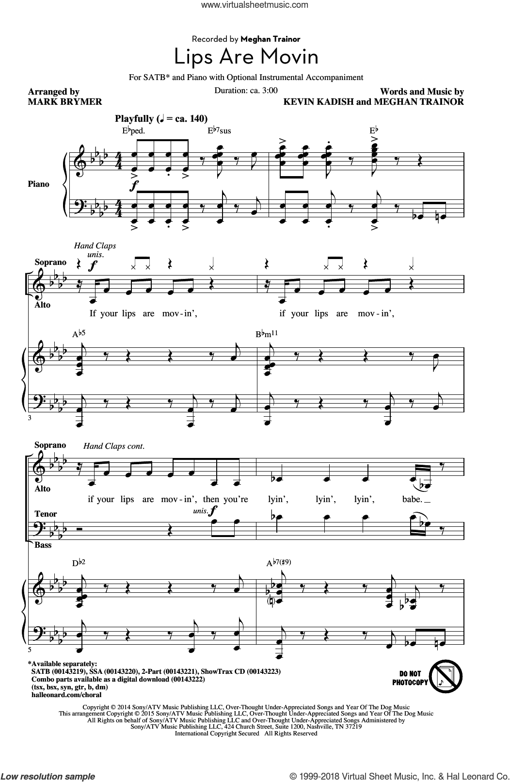 Lips Are Movin sheet music for choir (SATB) by Mark Brymer, Kevin Kadish and Meghan Trainor. Score Image Preview.