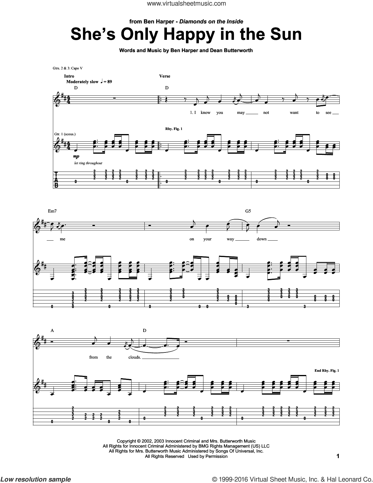 She's Only Happy In The Sun sheet music for guitar (tablature) by Ben Harper, intermediate guitar (tablature). Score Image Preview.