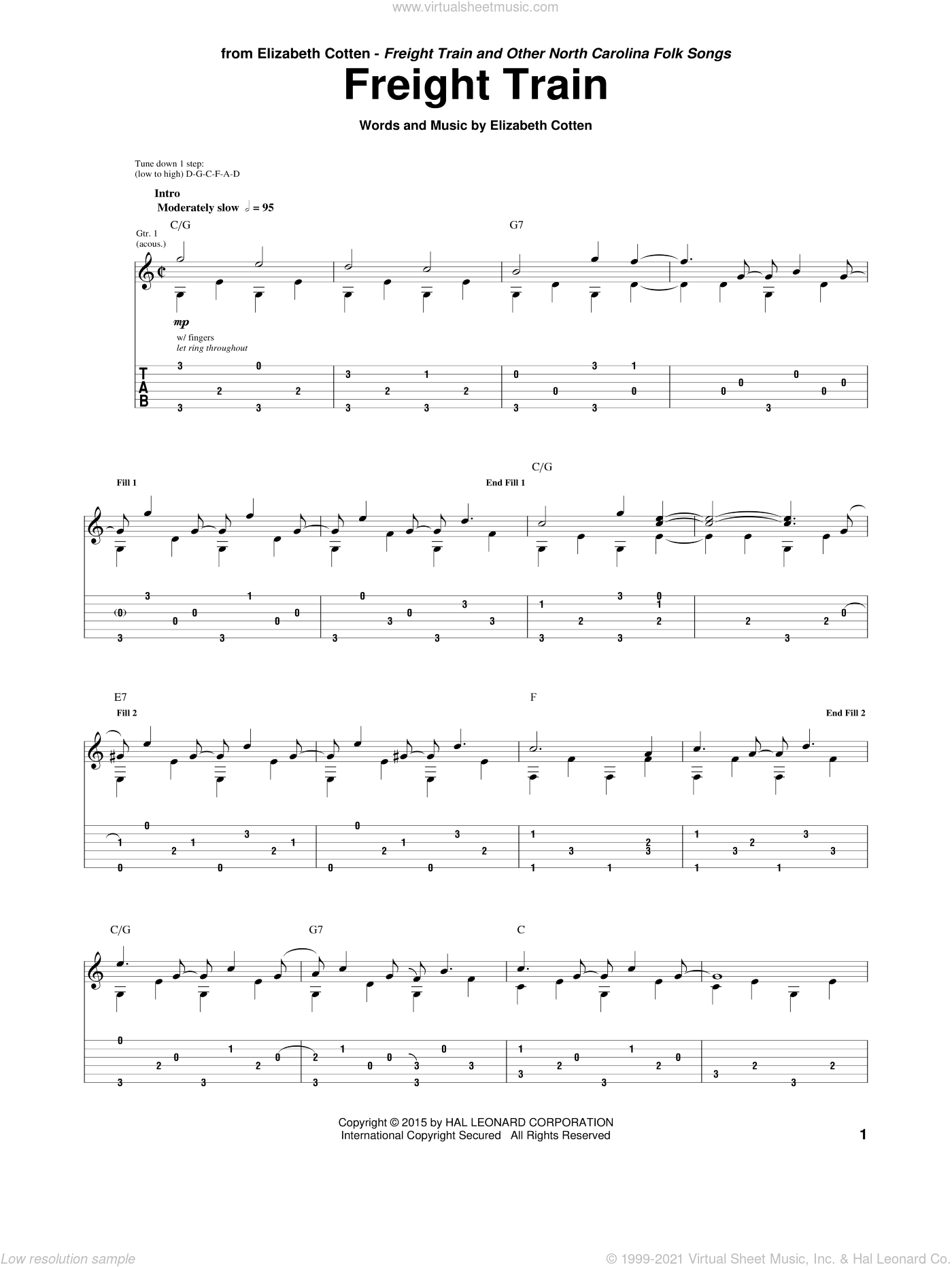 Freight Train sheet music for guitar (tablature) by Elizabeth Cotten. Score Image Preview.