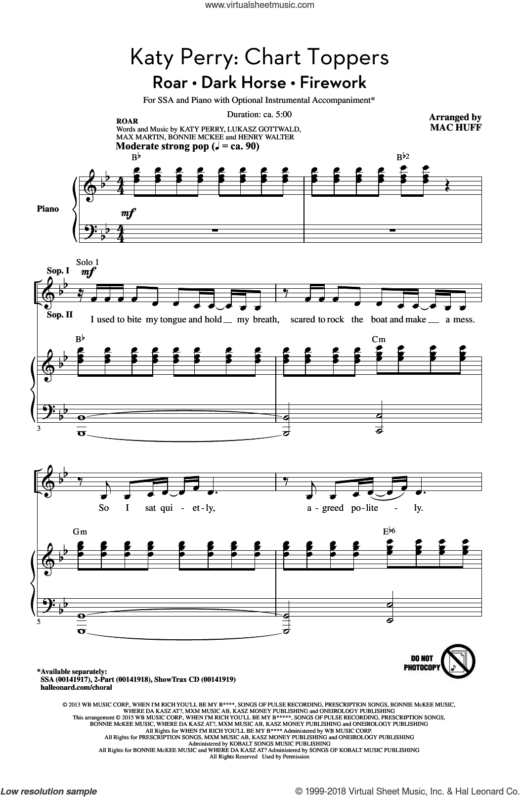 Katy Perry: Chart Toppers sheet music for choir and piano (SSA) by Tor Erik Hermansen, Mac Huff, Bonnie McKee, Henry Walter, Lukasz Gottwald, Max Martin, Sarah Hudson, Ester Dean, Katy Perry, Mikkel Eriksen and Sandy Wilhelm. Score Image Preview.