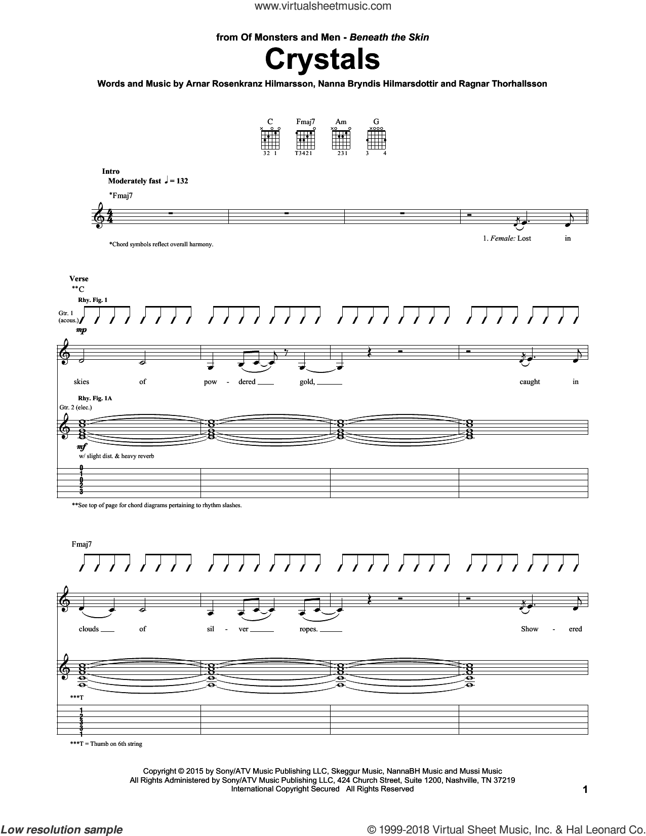 Crystals sheet music for guitar (tablature) by Of Monsters And Men, intermediate. Score Image Preview.