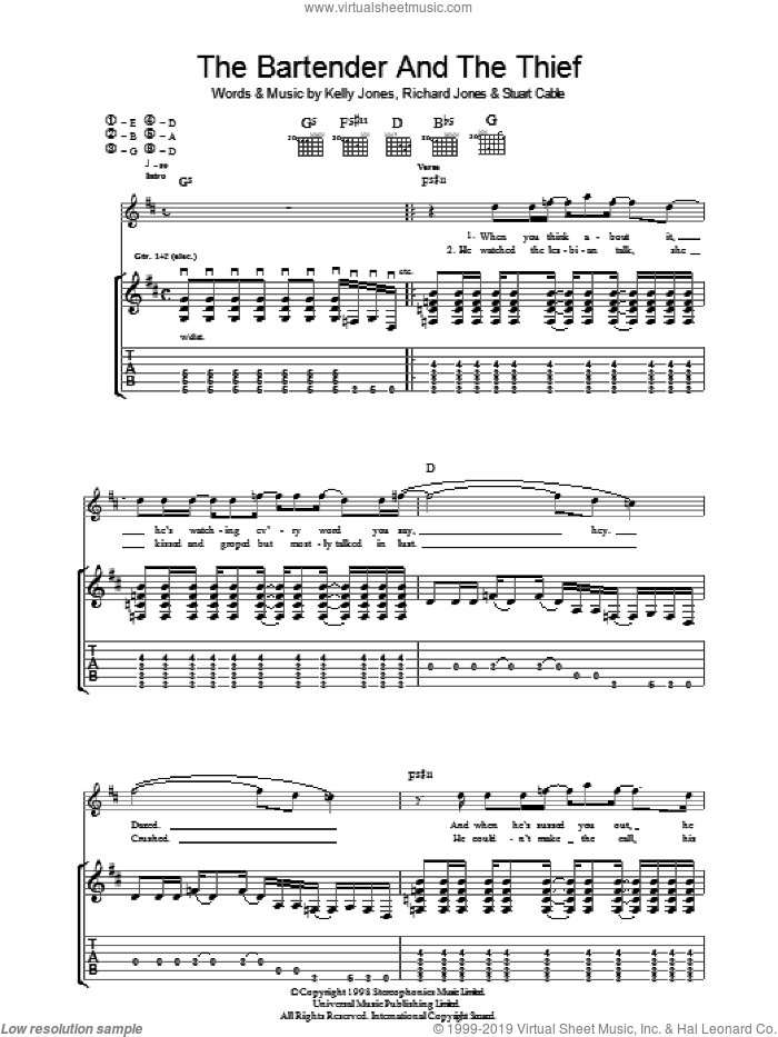 The Bartender And The Thief sheet music for guitar (tablature) by Stereophonics. Score Image Preview.