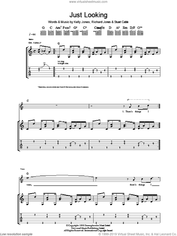 Just Looking sheet music for guitar (tablature) by Stuart Cable, Stereophonics, Kelly Jones and Richard Jones. Score Image Preview.