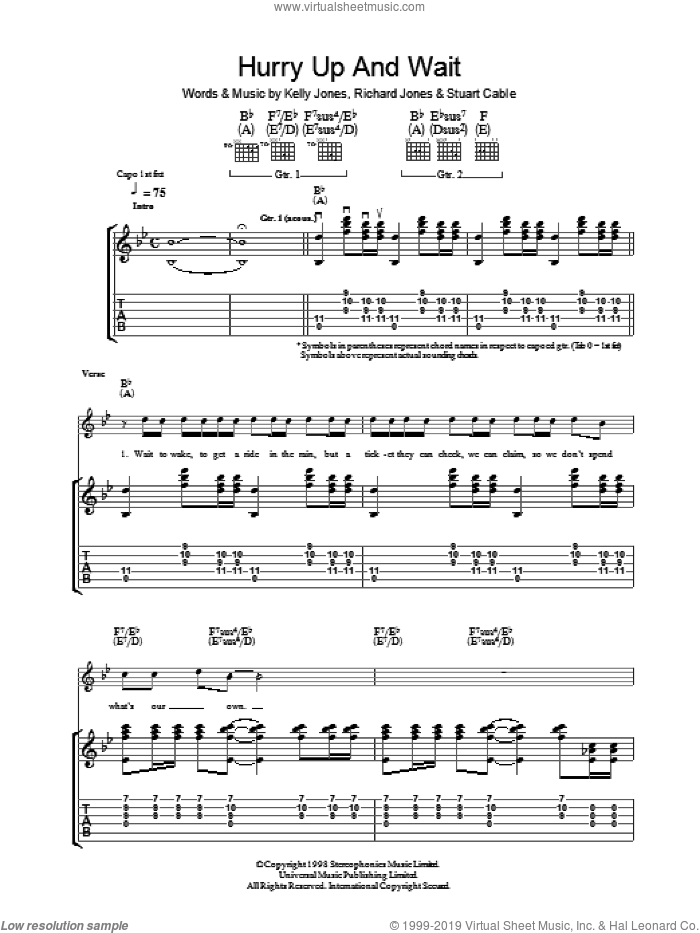 Hurry Up And Wait sheet music for guitar (tablature) by Stereophonics, Kelly Jones, Richard Jones and Stuart Cable, intermediate skill level