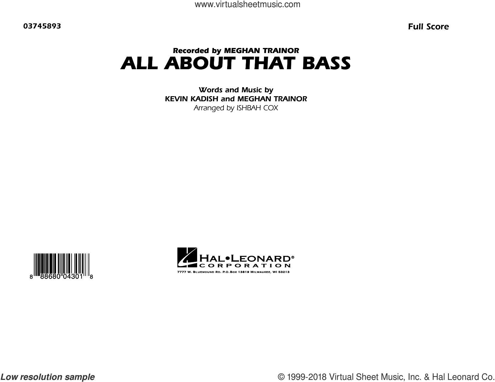 All About That Bass sheet music for marching band (full score) by Kevin Kadish