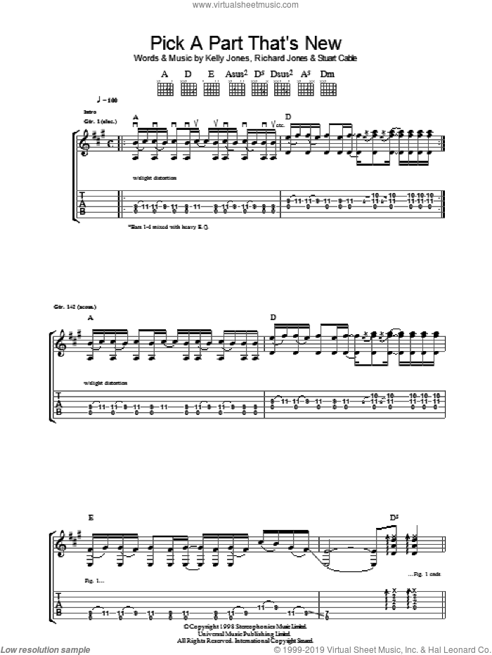 Pick A Part That's New sheet music for guitar (tablature) by Stuart Cable, Stereophonics, Kelly Jones and Richard Jones. Score Image Preview.