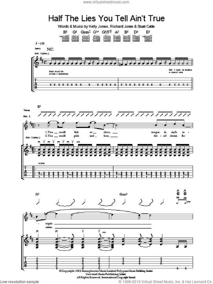 Half The Lies You Tell Ain't True sheet music for guitar (tablature) by Stereophonics, Kelly Jones, Richard Jones and Stuart Cable, intermediate. Score Image Preview.