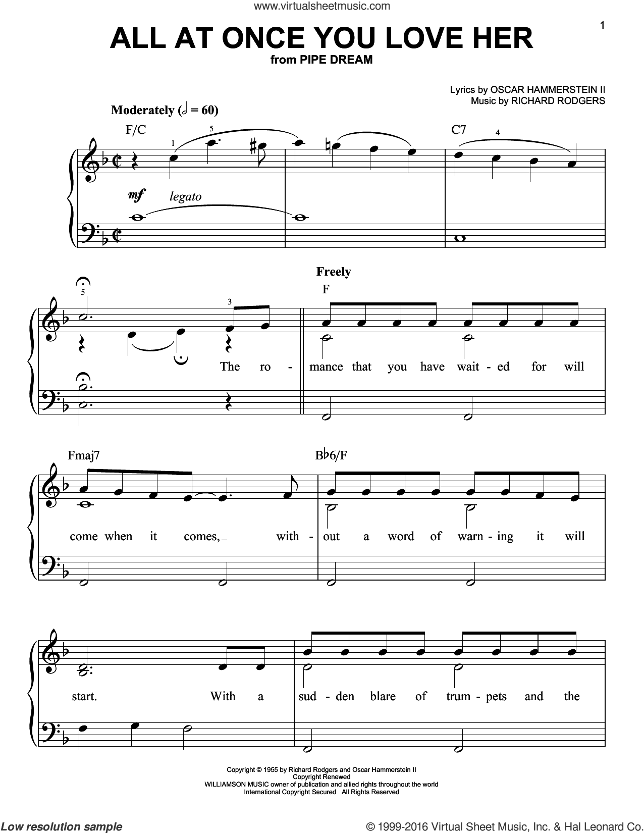 All At Once You Love Her sheet music for piano solo by Perry Como, Oscar II Hammerstein and Richard Rodgers, easy skill level