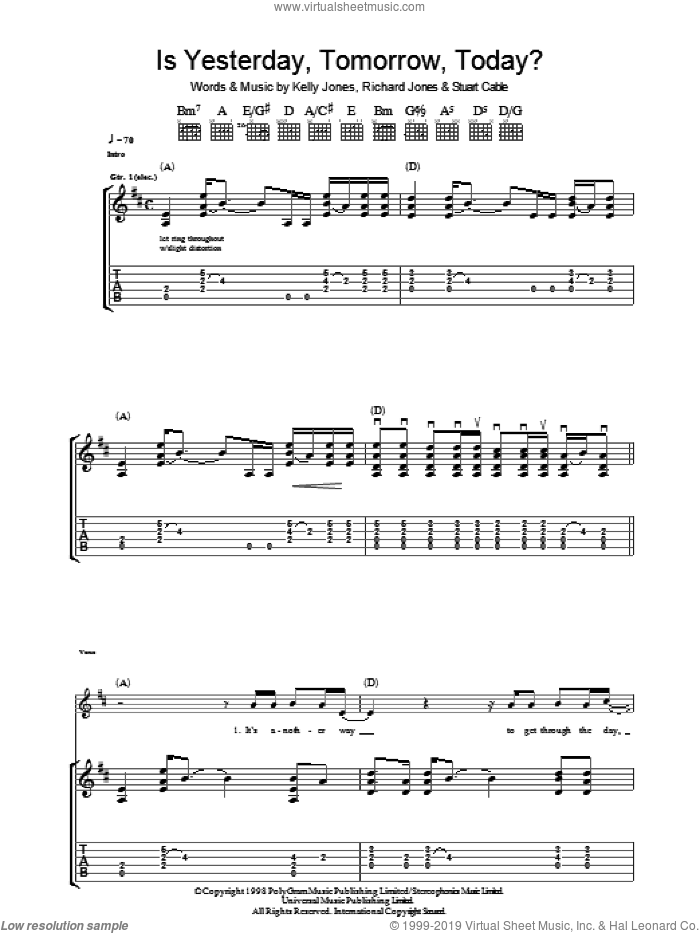 Is Yesterday, Tomorrow, Today? sheet music for guitar (tablature) by Stereophonics, intermediate. Score Image Preview.