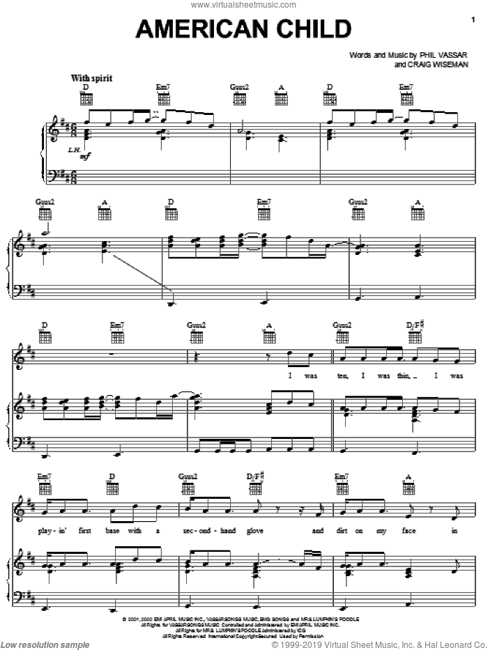 American Child sheet music for voice, piano or guitar by Phil Vassar and Craig Wiseman, intermediate skill level