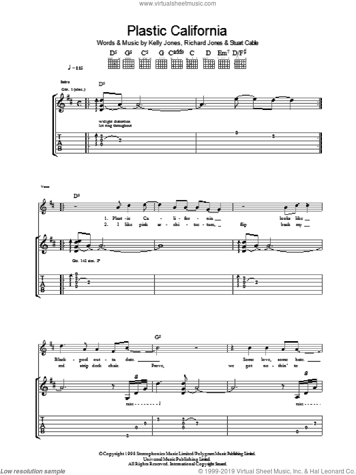 Plastic California sheet music for guitar (tablature) by Stereophonics, Kelly Jones, Richard Jones and Stuart Cable, intermediate skill level