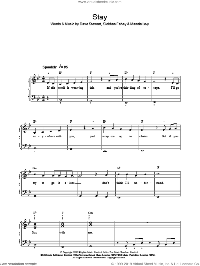 Stay sheet music for piano solo by Siobhan Fahey and Dave Stewart. Score Image Preview.